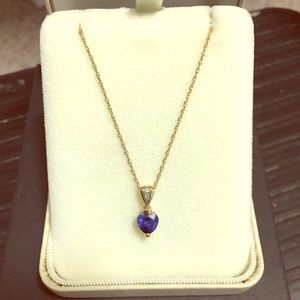 Jewelry - Genuine Sapphire and Diamond Heart Pendant